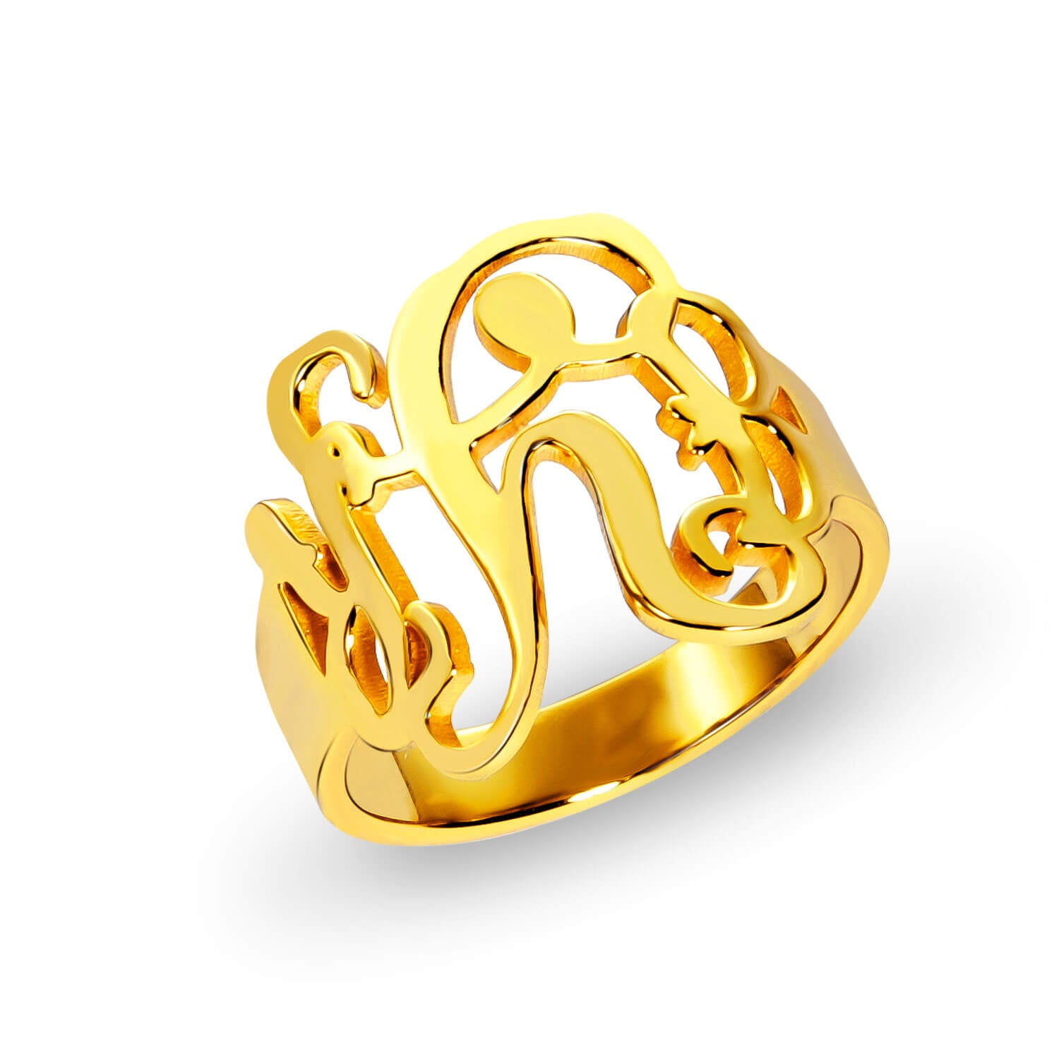 18K Gold Plated Personalized Script Monogram Signet Ring