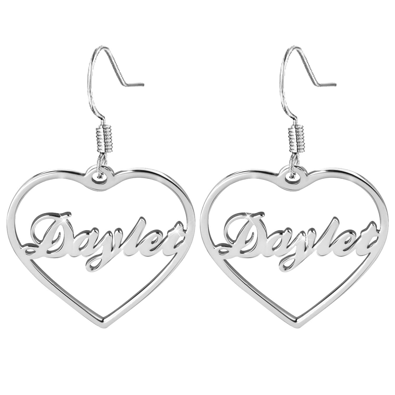 Heart-shaped Name Earrings Personalized 18K Gold Plated