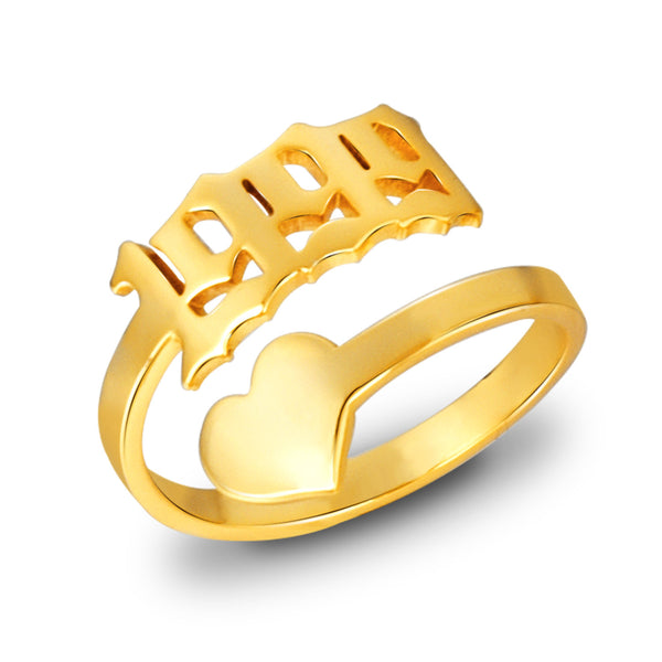 18K Gold Plated Personalized Heart Years Ring