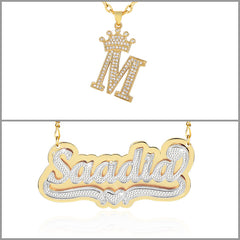 Crown Letter Initial Necklace and Double Plate Two-tone Name Necklace Personalized Custom Gold Plated