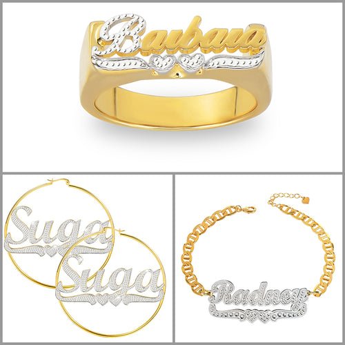 Two Tone Two Hearts Custom Name Ring Earrings and Bracelet Gold Plated