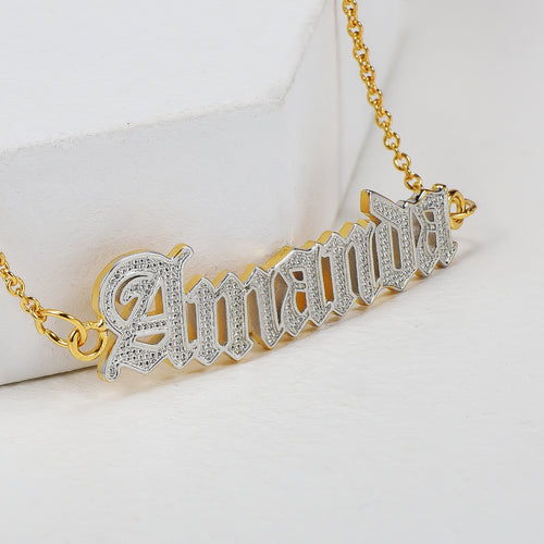 18K Gold Plated Personalized Old English Font Two Tone Name Bracelet