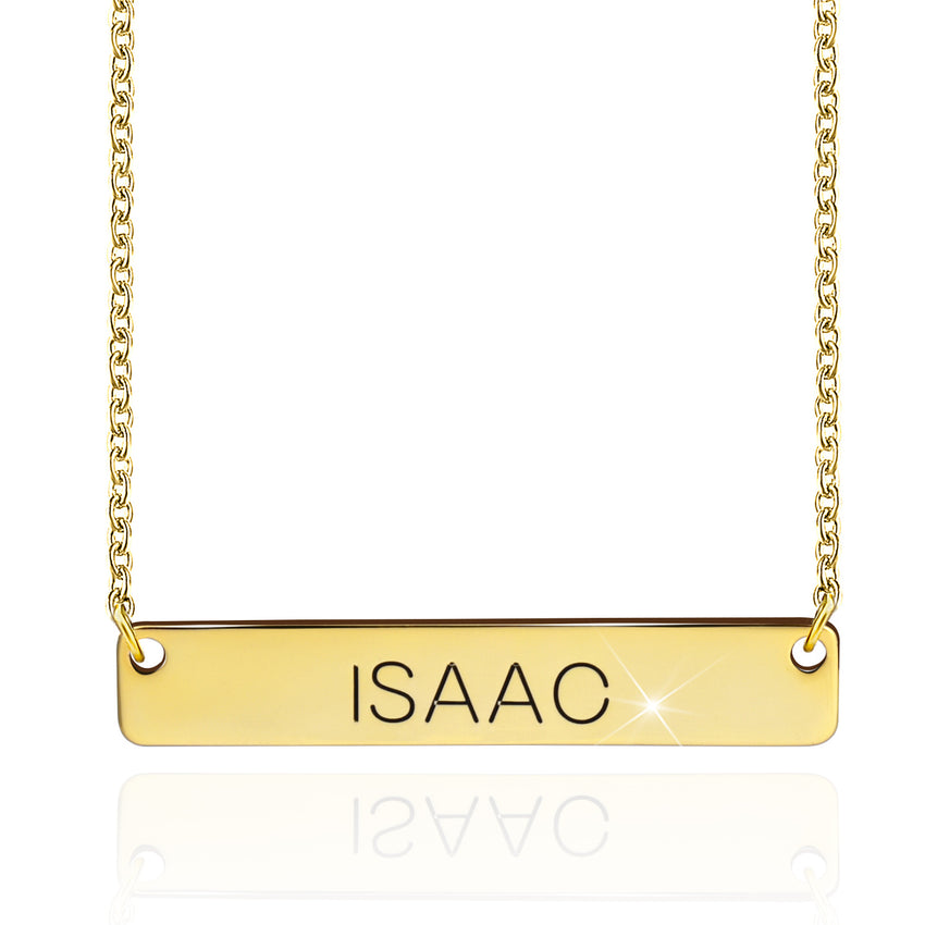 Horizontal Pendant Bar Name Necklace 18k Gold Plated