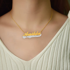 Two Color Personalized Gold Plated Name Necklace