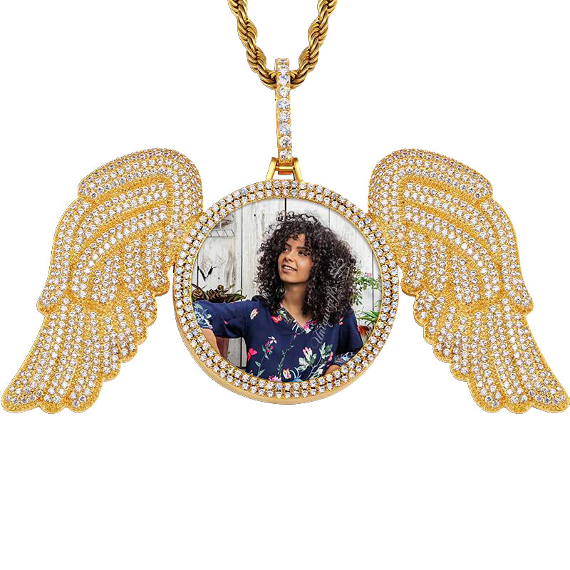 Angel Wings Round Pendant Photo Necklace 18K Gold Plated