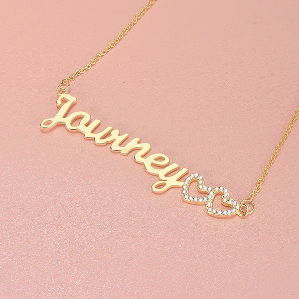 18K Gold Plated Personalized Two Tone Name Necklace with Double Heart