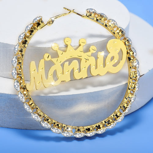 Gold Plated Personalized Hoop Name Earrings with Crown