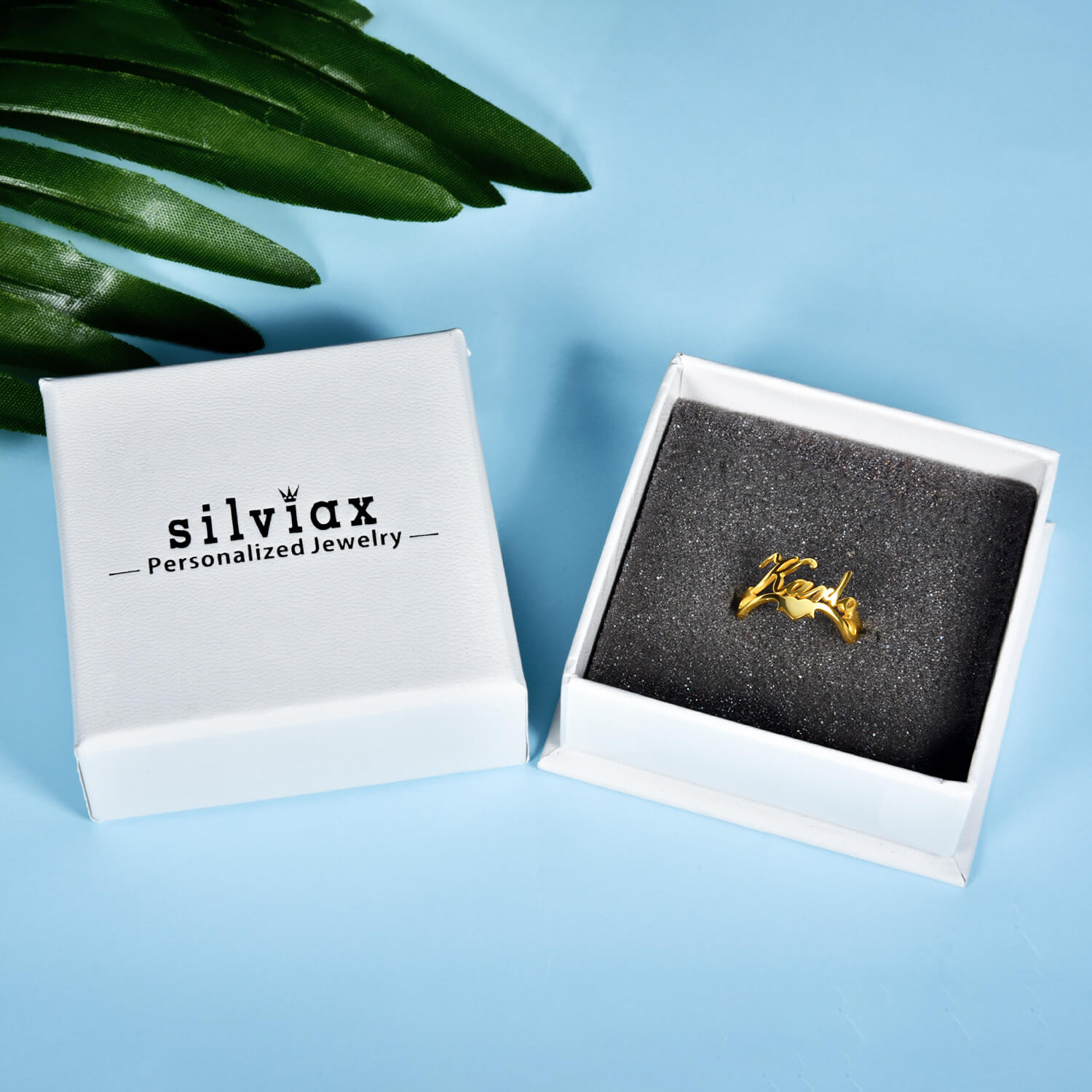 18K Gold Plated Personalized Heart And Birthstone Name Ring