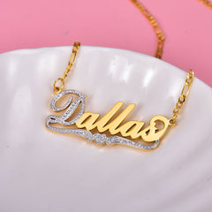 18K Gold Plated Two Tone Personalized Name Necklace with Heart