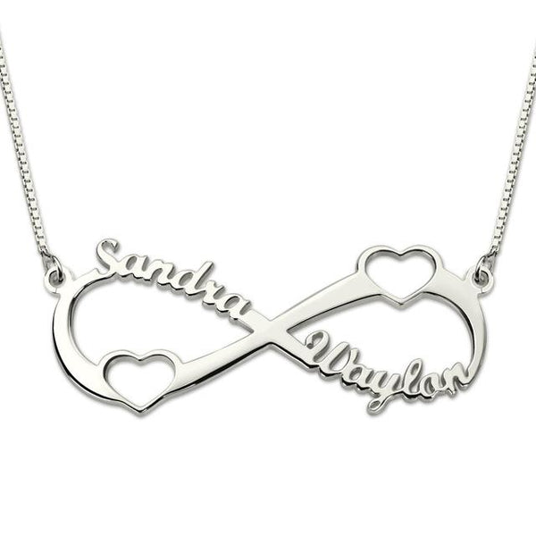 Silver Name Infinity Necklace with Heart