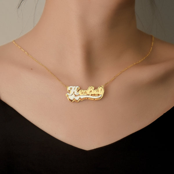 18K Gold Plated Two Heart Two Tone Double Layer Personalized Name Necklace