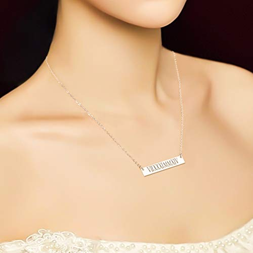 18K Gold Plated Personalized Bar Necklace - Silviax
