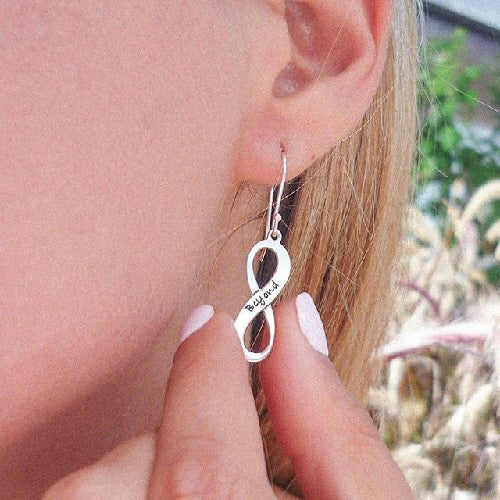 Personalized Infinity Drop Name Earrings 925 Sterling Silver