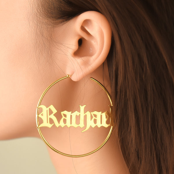 18k Gold Plated Personalized Old English Hoop Name Earrings