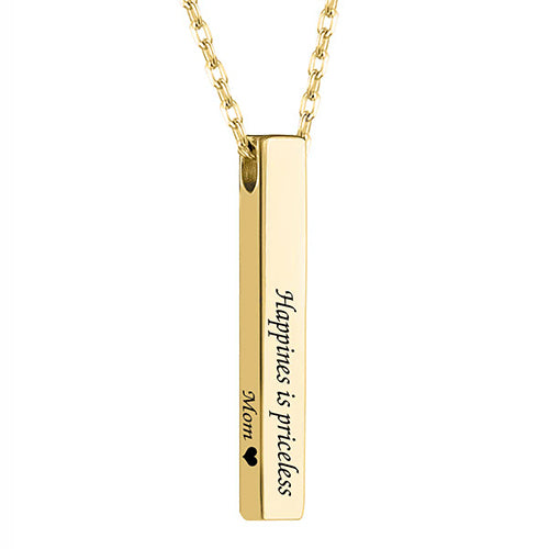 Bar Name Necklace 18K Plated Gold Gift Personalized