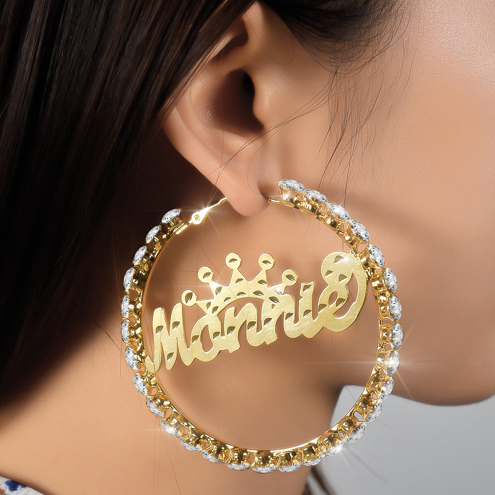 18k Gold Plated Personalized Hoop Name Earrings with Crown