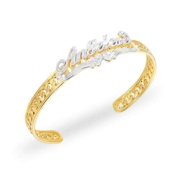 Two Tone Personalized 18K Gold Plated Name Bangle Bracelet with Heart