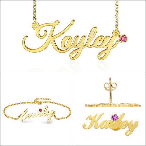 Birthstone Personalized Custom Name Necklace Bracelet and Earrings Set