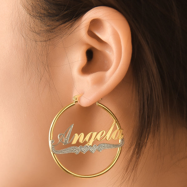 Two Tone 18K Gold Plated Hoop Personalized  Name Earrings with Heart