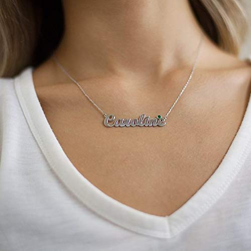 18K Gold Plated  with Birthstone Name Necklace Customized - Silviax