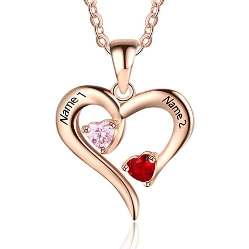 18K Gold Plated Personalized 2 Names With Birthstones Couple Hearts Necklace - Silviax