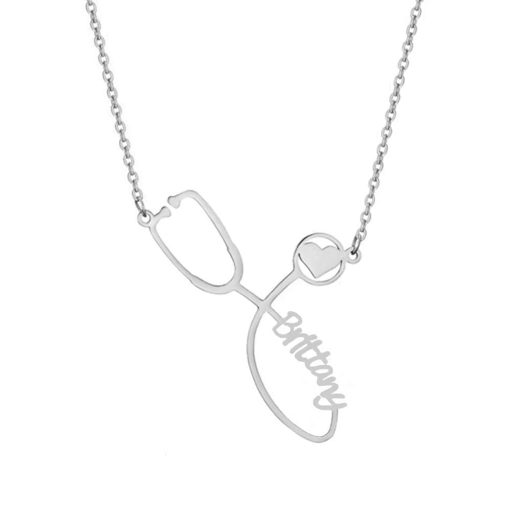 18k Gold Plated Personalized Custom Stethoscope Name Necklace - Silviax