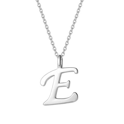 925 Sterling Silver One Letter Initial Necklace - Silviax