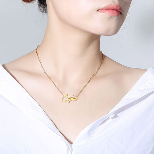 18K Gold Plated Custom Pendant Name Necklace Gift For Children - Silviax
