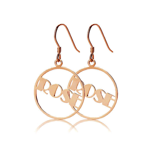Silver Personalized Circle Name Earring