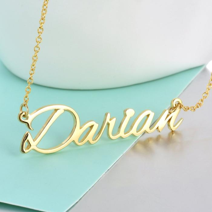 Personalized custom jewelry name necklace gift for women Gold Plated