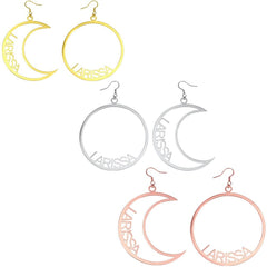 18K Gold Plated Personalized Moon & Sun Mismatched Name Earrings