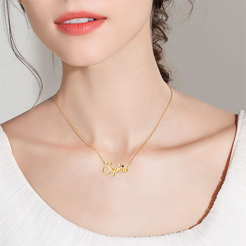 18K Gold Plated Personalized Name Necklace Pendant With Gem