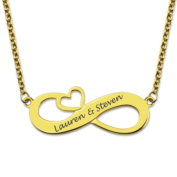 18k Gold Infinity Heart Name Necklace for Couples