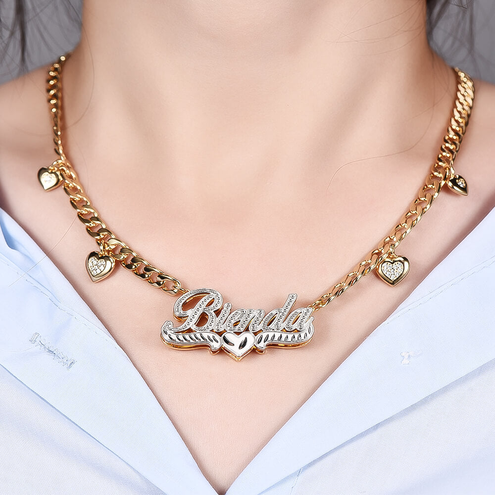 18K Gold Plated Personalized Two Color Name Necklace