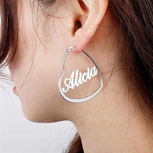 Gold Plating Personalized Heart Name Earrings