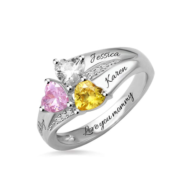 Heart Birthstone Personalized Promise Ring With 3 Names
