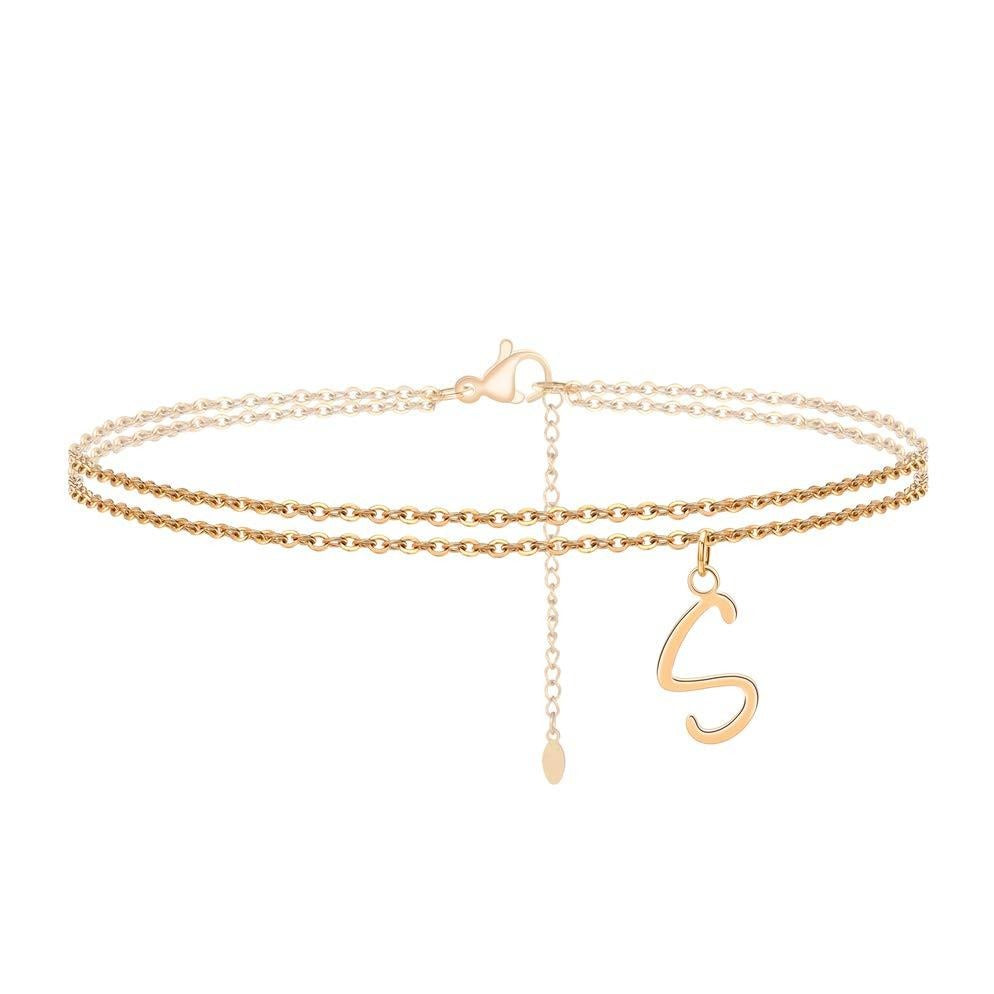 18k Gold Plated Personalized Double Layer Chains Letter Anklet