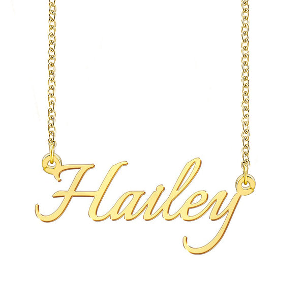 18K Gold Custom Engrave Name Necklace Gift