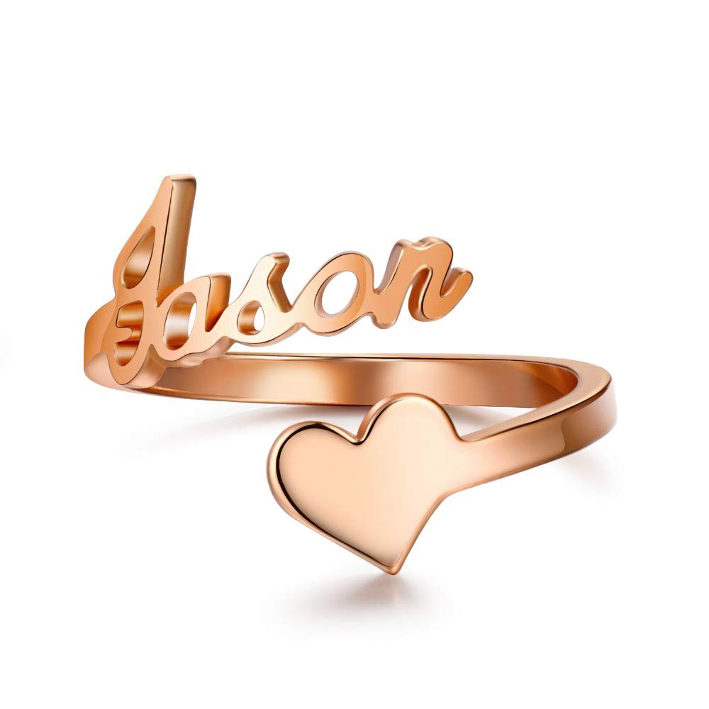 Personalized  Heart Nameplate Ring Gold Plated