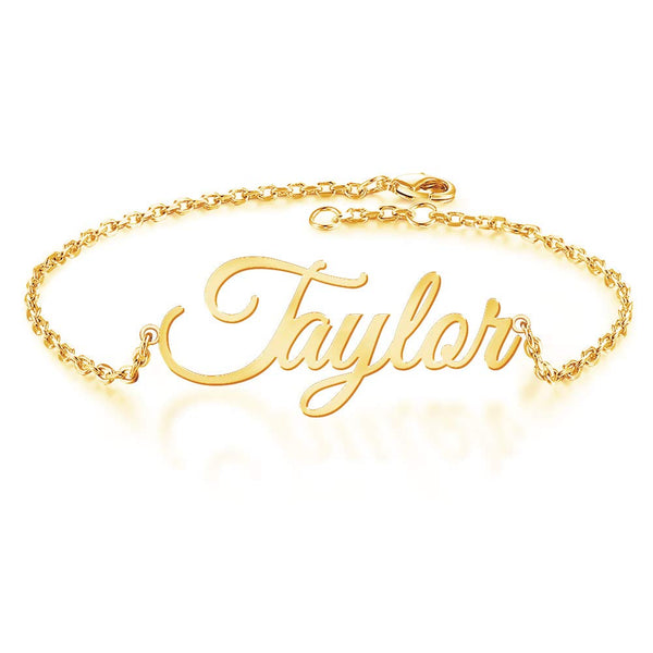 18K Gold Planting Classic Name Bracelet For Girls - Silviax