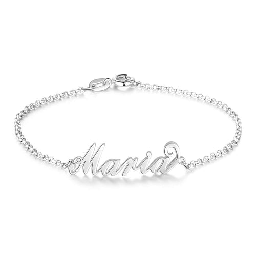 18K Planting Gold Name Bracelet with Engraved Inspirational - Silviax