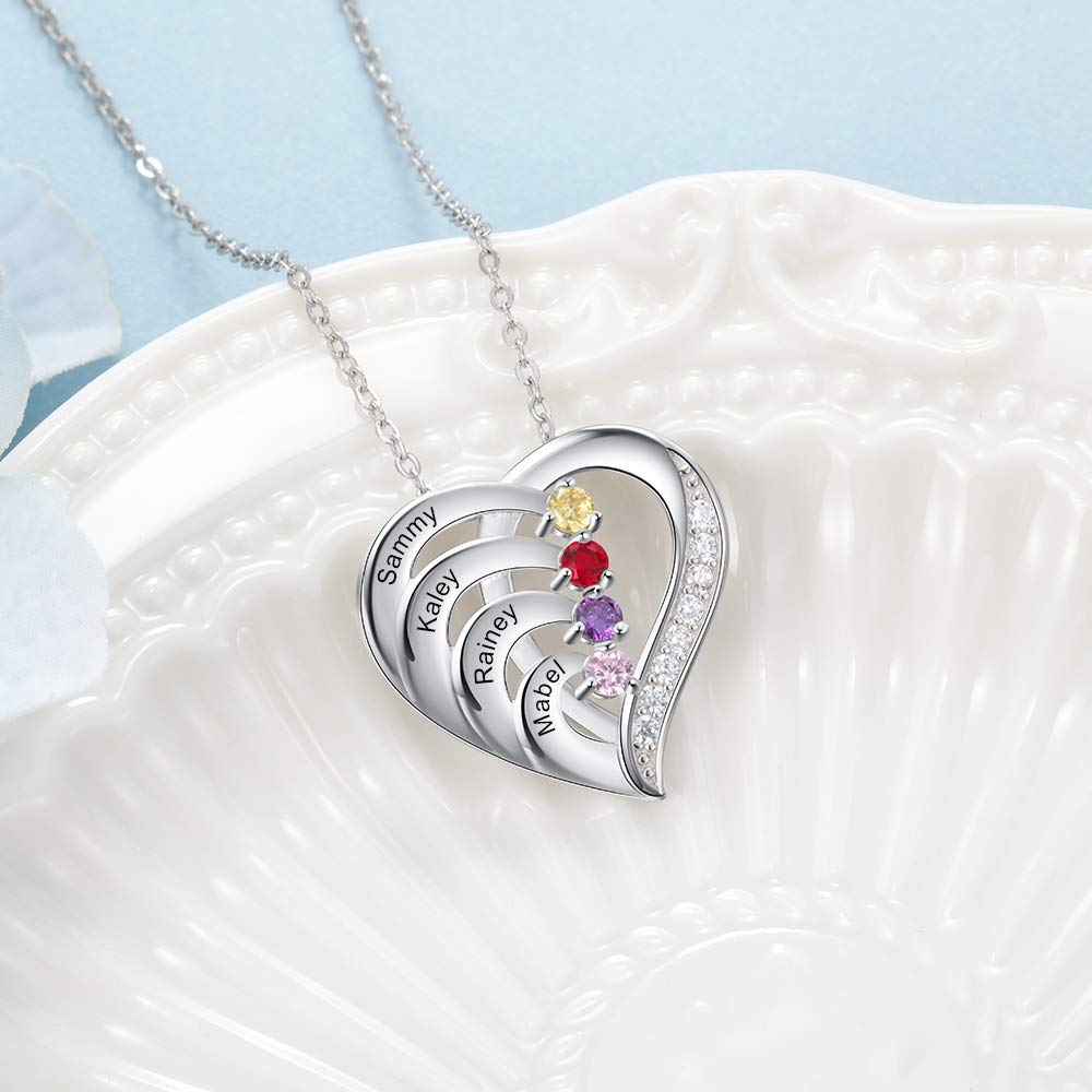Family 2-4 Birthstones Personalized Heart Pendant Name Necklace