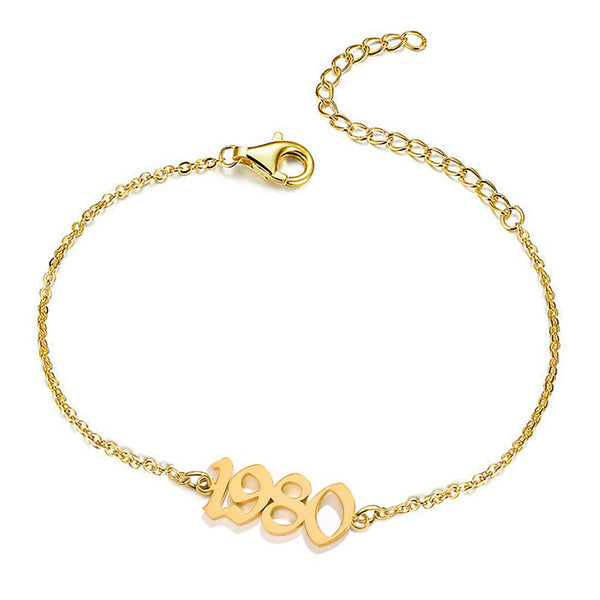 18k Gold Plated Personalized Birth Year Number Bracelet