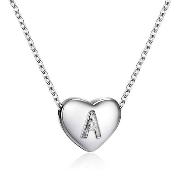 Letters Heart Pendant Initial Necklace