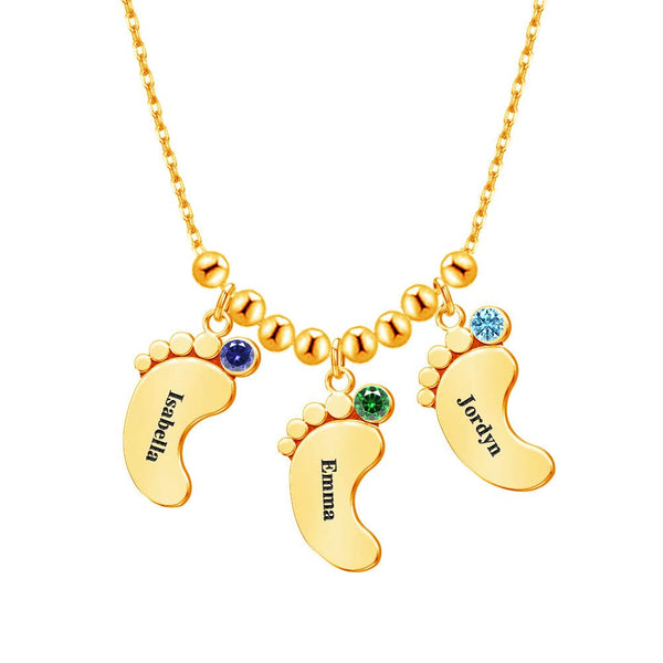 18K Gold Plated Personalized 2-5 Baby Foot Name Necklace with Birthstones