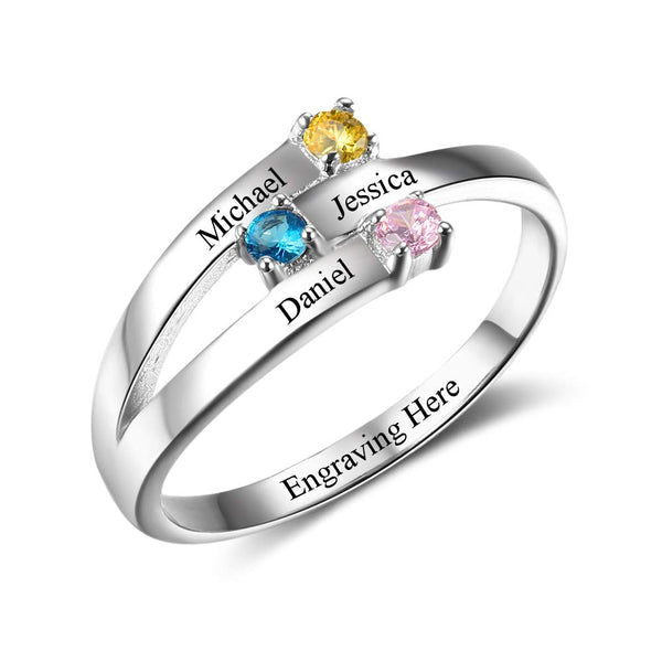 Personalized Engraved 3 Names Ring With 3 Birthstones