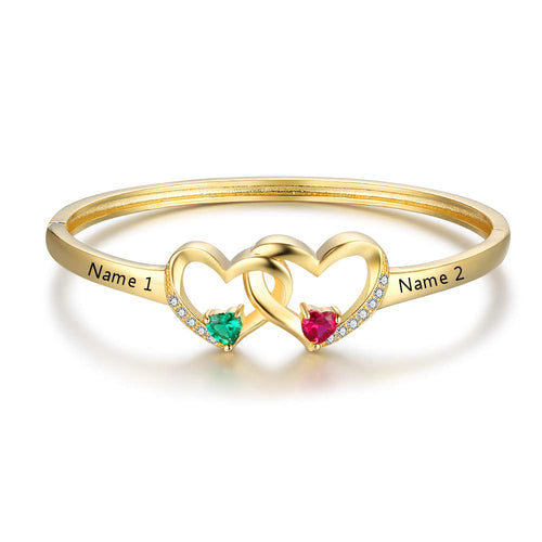 Two Hearts Intersect with 2 Birthstone Name Bangle Bracelet
