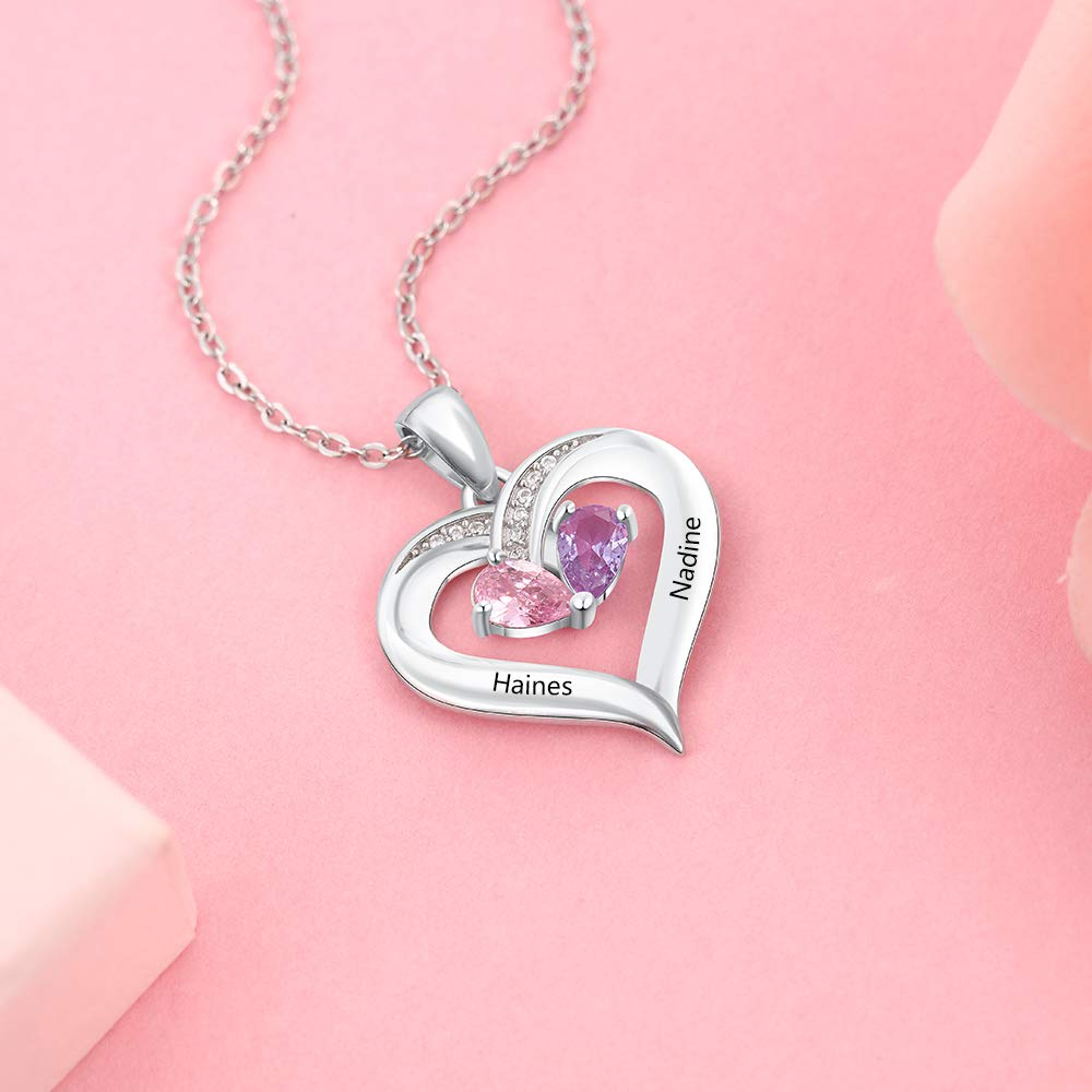 Personalized Heart Two Names Necklace with Birthstones