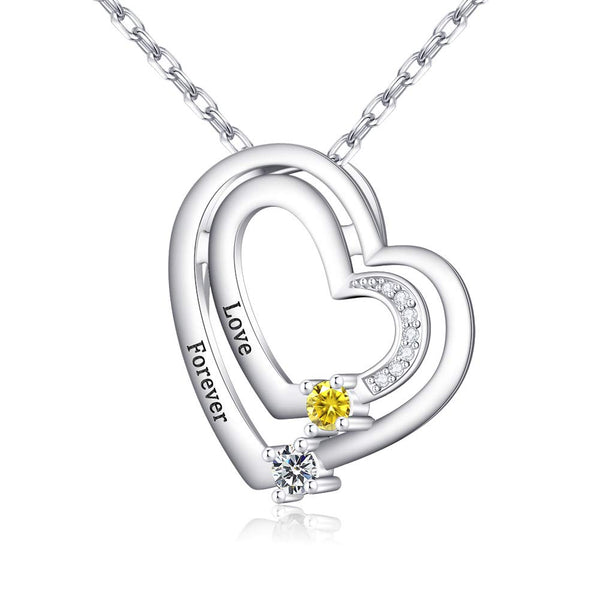 Double Heart Name with Birthstone Necklace