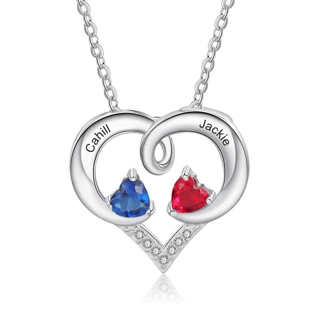 Couple's 2 Birthstone Engraved 2 Names Personalized Heart Necklace